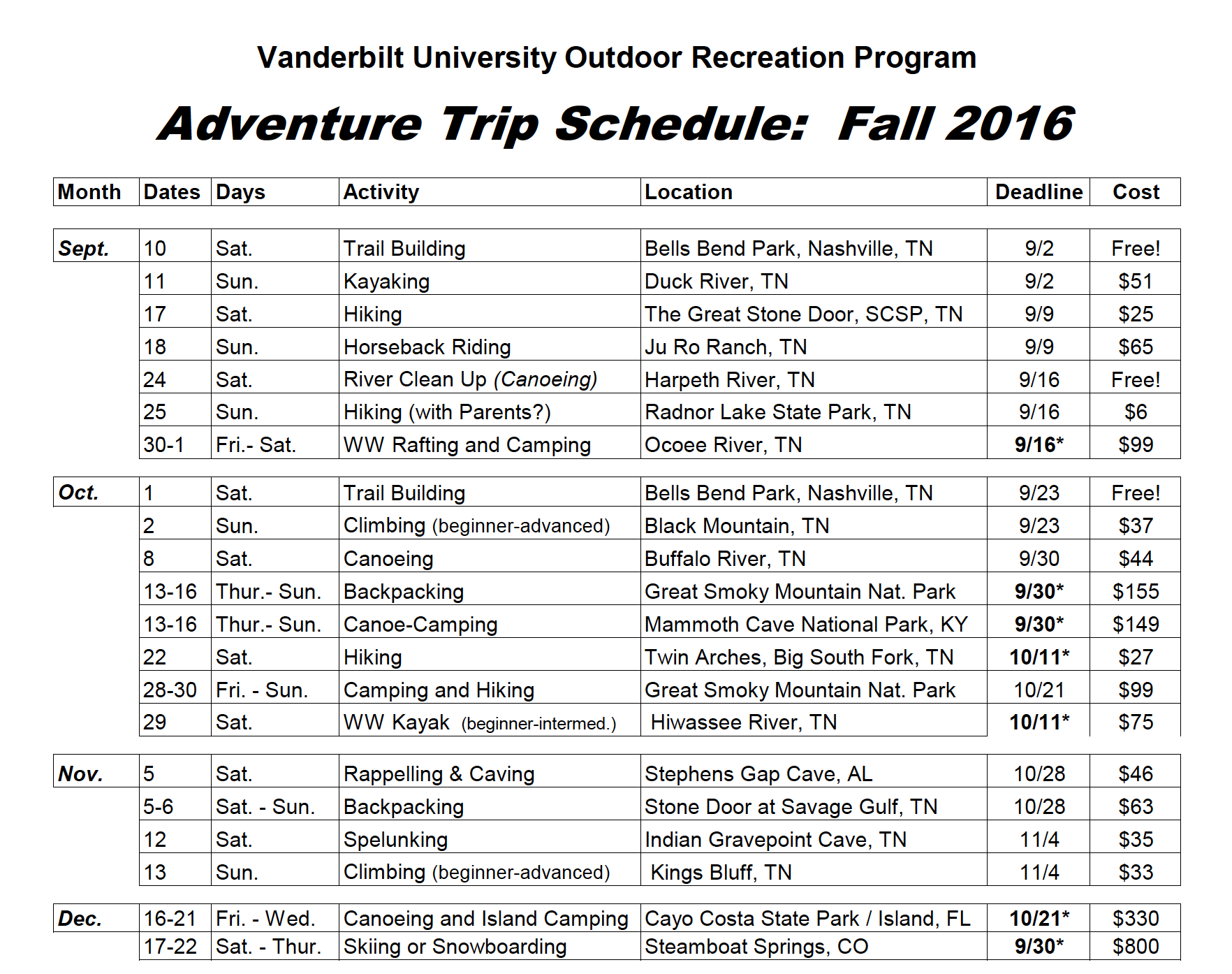 "A copy of a fall 2016 ""adventure trip schedule"""