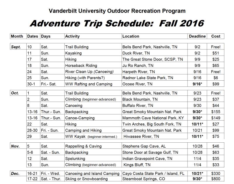 """A copy of a fall 2016 """"adventure trip schedule"""""""